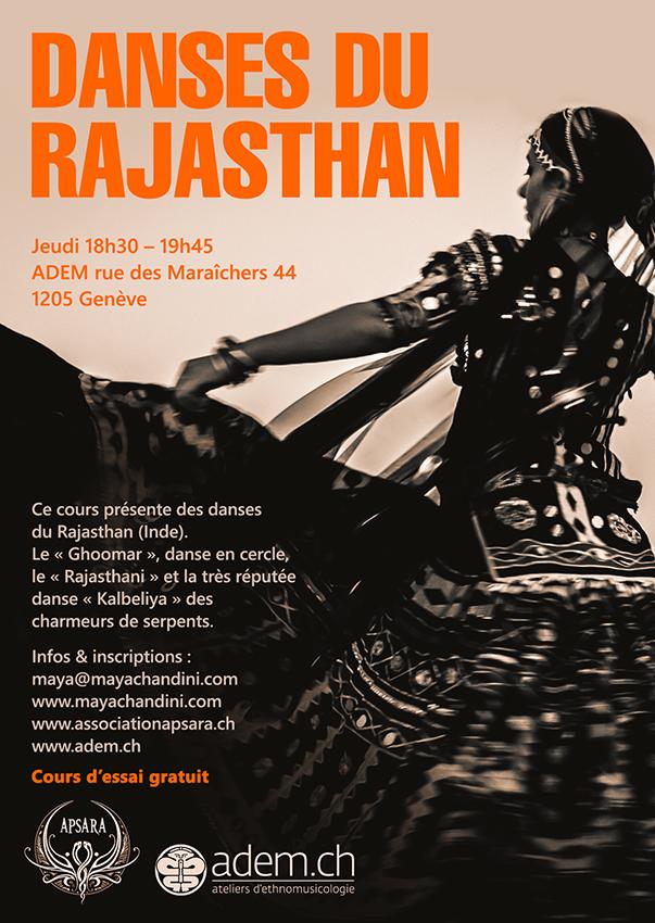 Cours hebdomadaire Danses du Rajasthan, Kalbeliya - Association APSARA